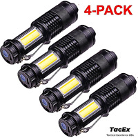 4 Pack Rechargeable 500 Lumen LED Flashlight Tactical Metal Body W/ Side Light