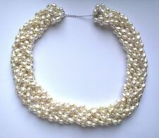 "18"" Freshwater White Pearl Statement Necklace with Sterling silver findings"