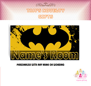 Batman Personalised Children's Bedroom Sign Boys Girls ANY NAME or wording