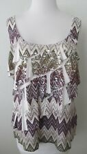 NWOT AGB Top Sz  L White Purple Green Sublimation Silver Foil Tiers Sleeveless