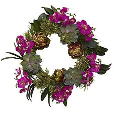 Nearly Natural 4989 Indoor Decorative 20 Orchid- Artichoke & Succulent Wreath
