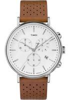 NEW Timex Fairfield Chrono Leather White Brown   AUTHORIZED DEALER