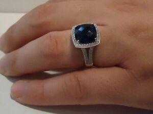 SQUARE HALO RING W/ 6 CT DIAMONDS & SAPPHIRE / SZ 5 - 9 / 925 STERLING SILVER