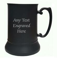 More details for personalised black stainless steel tankard us pint 484ml any text you want
