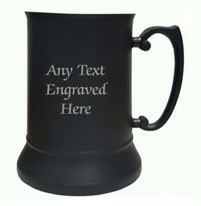 Personalised Black Stainless Steel Tankard US Pint 484ml Any Text You Want