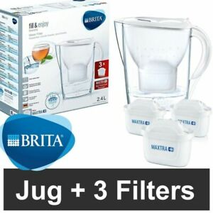 BRITA MARELLA FRIDGE WATER FILTER PURIFIER JUG | MAXTRA 3 CARTRIDGE PACK | WHITE