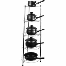 Pan Stand Five Tier Kitchen Pan Stand Saucepan Pot Rack Holder Chrome New