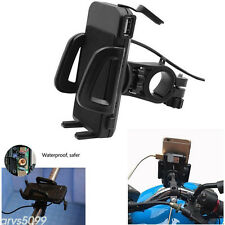 Universal Waterproof Motorcycle Cell Phone Handlebar Mount Holder + USB Charger