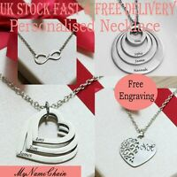 Personalised Engraved Name Necklace Silver Plated, Heart Love Tree,Disc Gift UK
