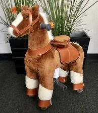 SMALL Giddy Up Ride Horse/Pony Ride On BROWN/WHITE Ages 2-5 Boys & Girls (01E)