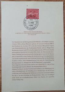 Berlin Vorläufer - alt ETB 1956 – Nr. 1 Heinrich von Stephan (1) Ersttagsblatt