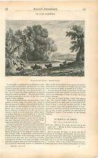 Calme Champêtre Paysage Claude Gellée dit le Lorrain GRAVURE ANTIQUE PRINT 1853