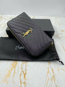 Women's Yves Saint Laurent Zip Wallet Black