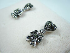 D'Orlan Rhodium Pierced Earrings with Marcasite stones 0213