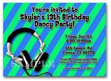 10 Printed DJ Dance Party Music Boys Birthday Invitation ANY AGE 12th 13th 14th