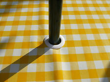 1.4x3.0m YELLOW GINGHAM CHECK OVAL OILCLOTH / PVC WITH PARASOL HOLE - 10/12 SEAT