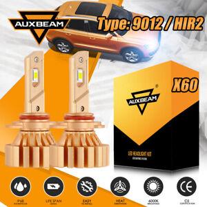 AUXBEAM 9012 HIR2 FANLESS LED Headlight Bulbs Kit 44W 6500K Hi or Low Beams X60