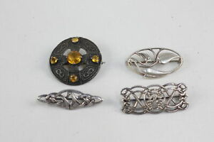 4 x Vintage .925 Sterling Silver Scottish BROOCHES inc. Celtic Knot (26g)