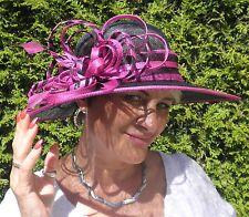 Damen Hut Schwarz Pink Anlasshut Hochzeit Anlasshüte Festlich Ascot Elegant