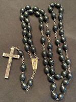 Rosary Ebony Wood Beads Large Italy Catholic Religious Family Icon Vintage