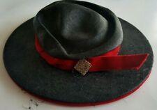 Vintage Designer Schiaparelli Black Straw Hat Red Velvent Bow Rhinestone Broach