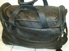 "Dussault Gene Simmons Black Leather Wheeled Travel/Carry On ""Money Bag"""