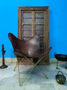 Vintage Brown Handmade Buffalo Leather Butterfly Chair BKF Classic (Cover Only)
