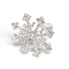 Set of 4 Christmas Holiday Rhinestone Crystal Snowflake Napkin Rings