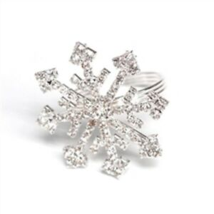 Set of 4 Christmas Holiday Rhinestone Crystal Snowflake Napkin Rings