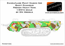 Camouglage Paint Masks Saint Chamond French Heavy Tank WWI + Insignia 1/35 Camo