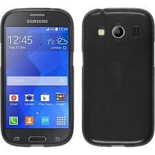 Funda de silicona Samsung Galaxy Ace 4 brushed - plata + protector de pantalla
