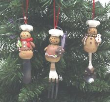 New Beautiful Set Of 3 Gingerbread Christmas Tree Hangers Fork Knife & Spoon