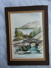 "English Lake District Ashness Bridge & Derwentwater 4x6"" Four Color Matted Print"