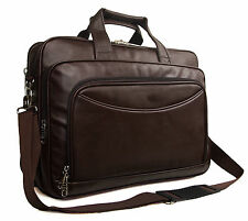 "Premium High Quality Mens Faux Leather Brown 15""-17"" Laptop Business Office Bag"