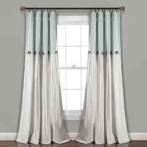 "(2) Lush Decor Linen Button Curtain Panels - 40"" x 84"" - Mint / Teal / Aqua"
