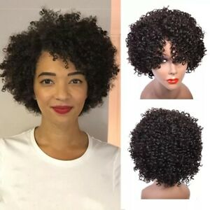 Short Curly Bob Human Hair Wig for Women Afro Kinky Curly Pixie Cut No Lace Wigs