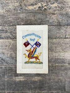 WWI Monmouthshire Regiment Dragon Badge Silk Embroidered Postcard.