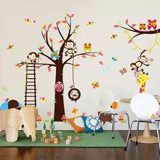 Jungle Tree Animal Owl Monkey Elephant Wall Decor Kid Nursery Home Sticker Mural