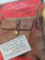 UNUSED Vtg PURSE COMPACT MIRROR Multi Pg MOTHERS DAY GREETING CARD New Old Stock