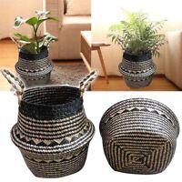 Handmade Rattan Storage Baskets Foldable Laundry Belly Flower Pot Planter Basket