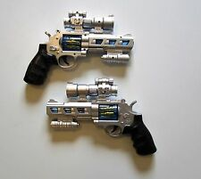 "2 NEW BATTERY OPERATED SPACE PISTOLS 10"" HANDGUN REVOLVER WITH LIGHTS AND SOUND"