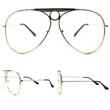 3da17a9b6cc2a 80s 90s Hip Hop Gold Aviation Oversized Vintage Retro Clear Lens Eye Glasses