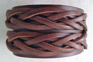 "Brown plaited celtic wristband mens boys girls bracelet  1.50"" wide LB0261"