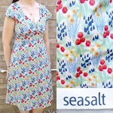 SEASALT Floral Cotton Dress 10 Cap Sleeve V Neck Summer Holiday A Line Midi Knee