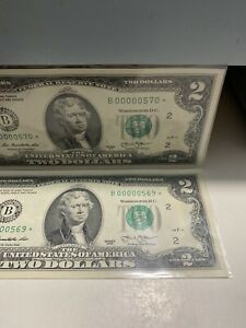 2 of consecutive 2013 $2.00《Star Notes 00000570& 00000569》Super LOW NUMBER,Rare!