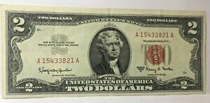 1963 $2 TWO DOLLAR LEGAL TENDER UNITED STATES NOTE~~DECENT XF-AU NOTE