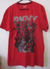 Mens DKNY Jeans New York L Red Short Sleeve T-Shirt Shirt 100% Cotton EUC