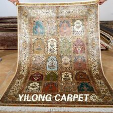 Yilong 4'x6' Persian Silk Rugs Handmade Four Seasons Carpets Hank Knotted 0122
