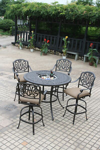 Outdoor bar set 5 piece Elisabeth cast aluminum stools patio furniture Bronze