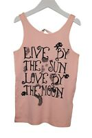 Girls Ex H&M Vest Tank Top Live By Print Light Pink Size Age 8 to 15 Years C15